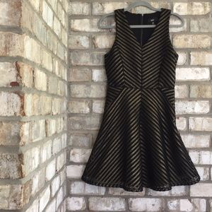 MOSSIMO METALLIC GOLD/BLACK FIT & FLARE DRESS XS